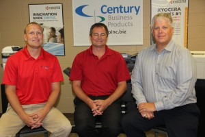 Century Business Products' three owners (left to right), Aaron Gerdes, Brett Gildemaster, and Kevin Jergenson.