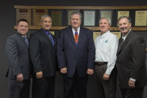 The ABM team (left to right) Luke Maucher,Office Furniture and Supply Manager; Greg Wilbanks, Service Manager; Dan Maucher, President/Owner; Phil Koehl, Controller; Dave Ferro, Equipment/MNS Manager