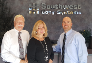 – The Southwest Copy management team (left to right) Mike Contois, president; Dorothy Contois, vice president, Kevin Simpson, GM, VP sales.