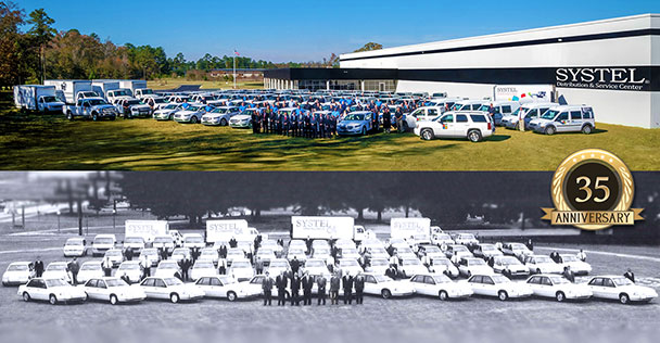 Over the years Systel's vehicle fleet has expanded to support the company's growth. The top image shows 200 vehicles in 2015 along with sales and service professionals in front of the new Distribution & Service Center, compared to the below image of 80 vehicles in 1995